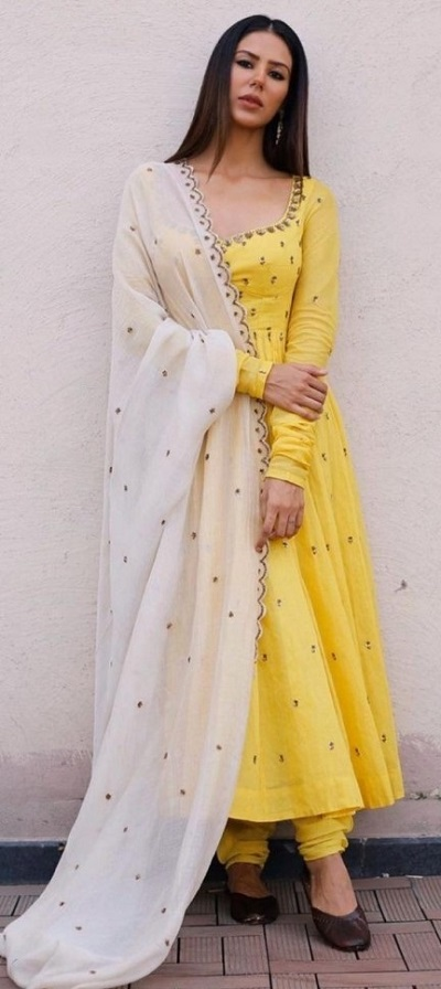Cotton Long Length Yellow Anarkali With Long Sleeves