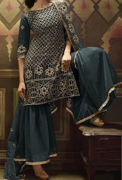 Dark Grey Embroidered Sharara Suit For Ladies