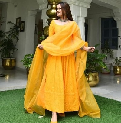 Full length yellow embroidered Anarkali dress with dupatta