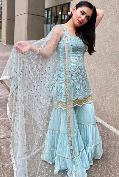 Light blue Georgette Sharara suit for parties and weddings
