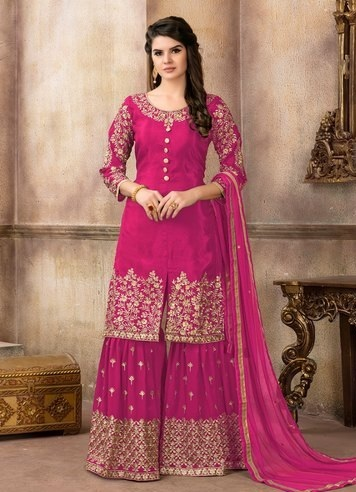 Pink Georgette Sharara With Gold Detailing