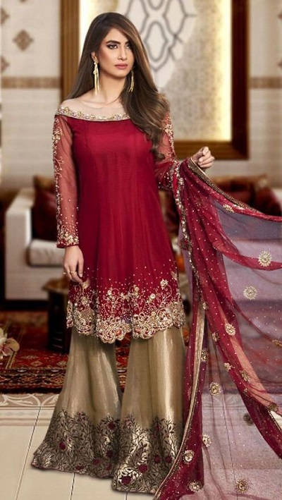 Red And Gold Wedding Wear Sharara Suit