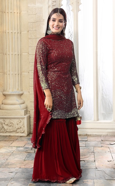 Sequin Work Sharara Suit Style