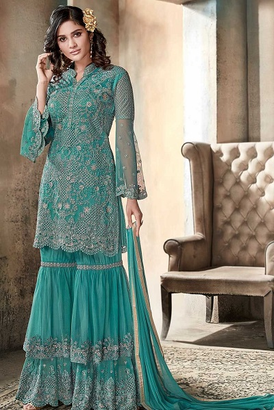 Sharara Suit In Green Colour For Festivals