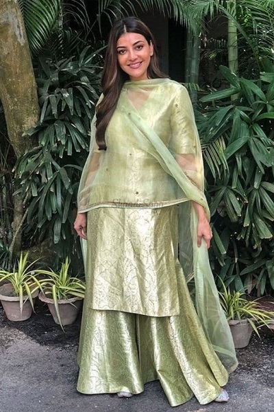 Simple Brocade Sharara Suit Style For Festivals