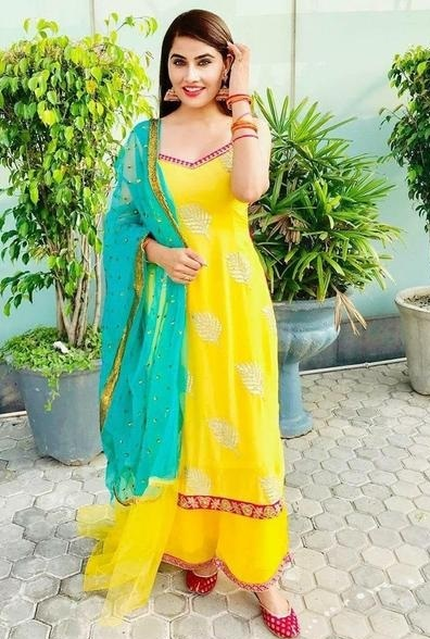 Designer Yellow Suit With Plazo And Blue Net Dupatta