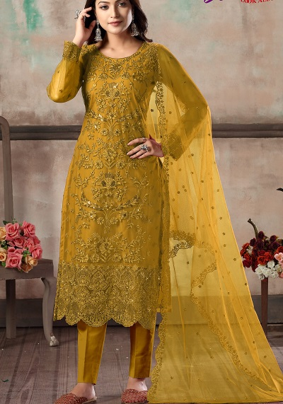 Heavy Embroidered Party Wear Yellow Salwar Suit For Women