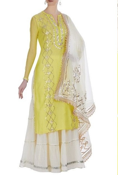 Yellow And White Sharara Suit Set For Parties