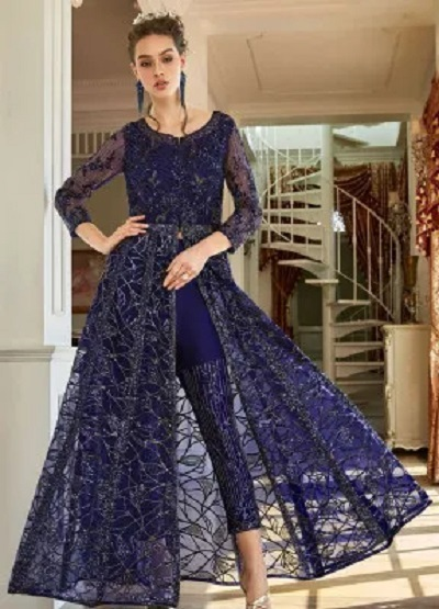 Anarkali Blue Suit With Straight Fit Pants