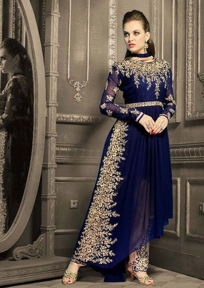 Georgette Embroidered Party Wear Blue Suit For Women