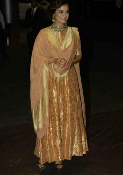 Gold Colored Stylish Party Wear Dress For Women