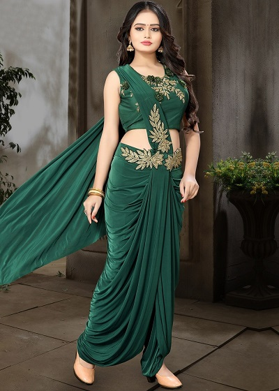 Green embroidered dhoti saree style for parties