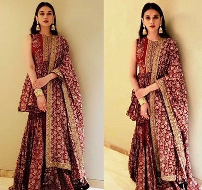 Maroon And Gold Salwar Suit Design For Women For Parties