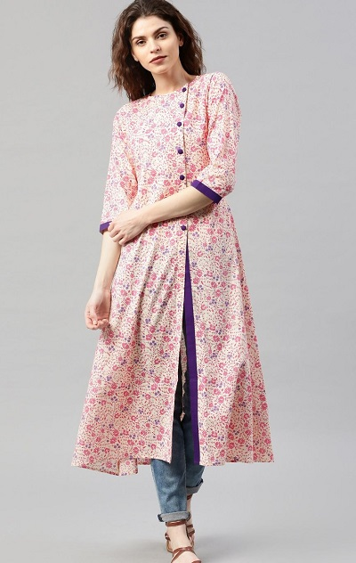 Pink Printed Side Slit Long Kurti With Jeans