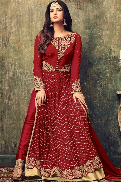 Red party wear Bollywood salwar kameez style