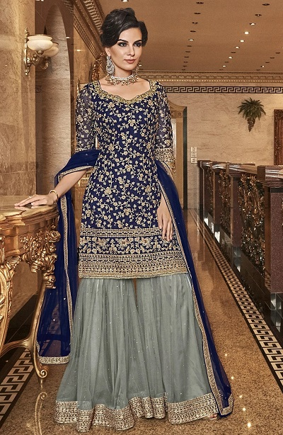 Blue And Grey Embroidered Wedding Wear Salwar Suit For Women