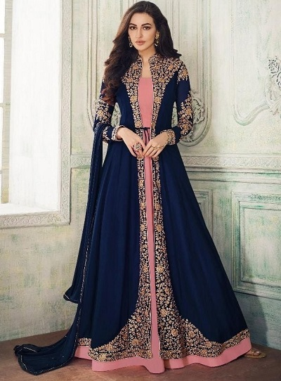 Blue And Pink Long Indian Anarkali Gown For Women
