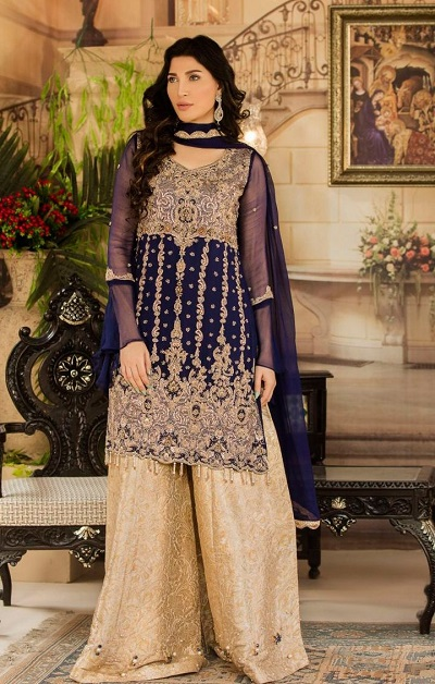 Blue Kurti With Golden Plazo For Wedding