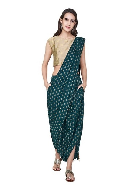 Dark Green And Gold Dhoti Saree For Weddings