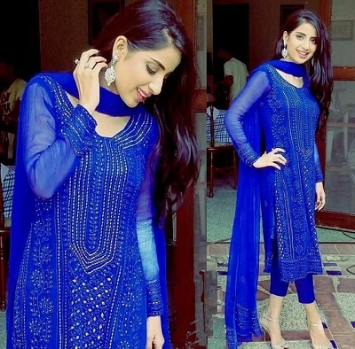 elegant long thread work blue kurti with cropped trousers