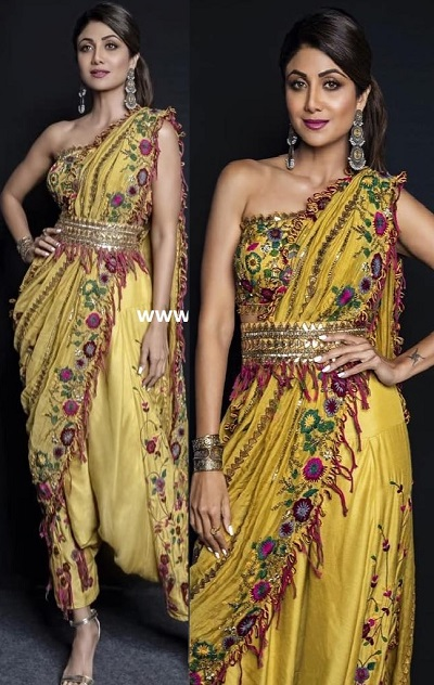 Heavy Embroidery And Mirror Work Dhoti Saree Style