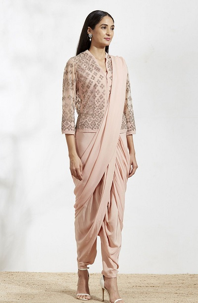 Jacket Style Blouse With Peach Colour Dhoti Saree