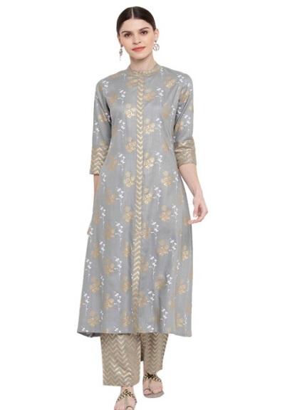 Party wear kurta palazzo set in grey colour