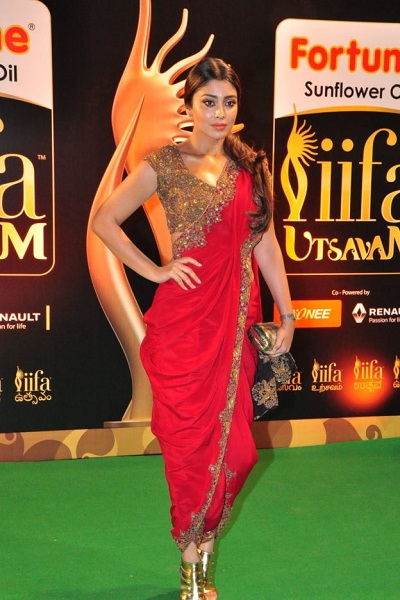 Stylish Red Embroidered Dhoti Saree For Parties