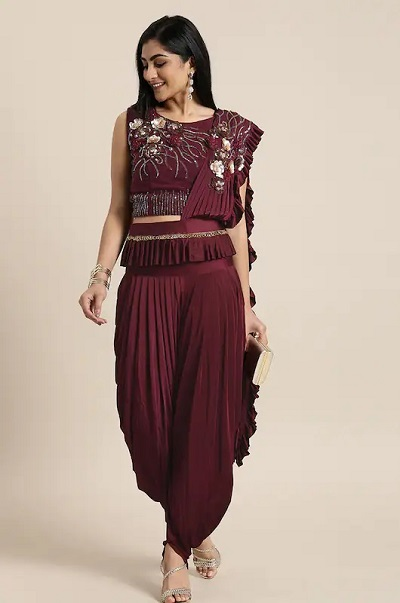 Wine Colour Dhoti Style Saree For Parties