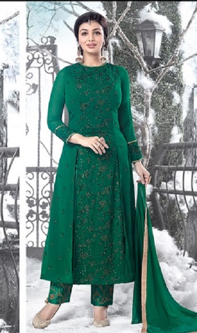 Dark green heavily thread work and embellished trouser set