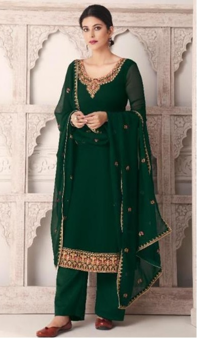 Dark green kurta with straight fit pant and Dupatta for parties