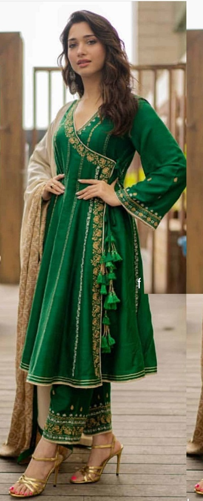 Green A line kurta with trousers for weddings