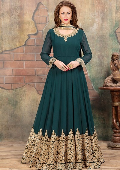 Green blue long party wear Indian gown for women