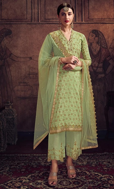 Heavily embroidered palazzo Dupatta for parties
