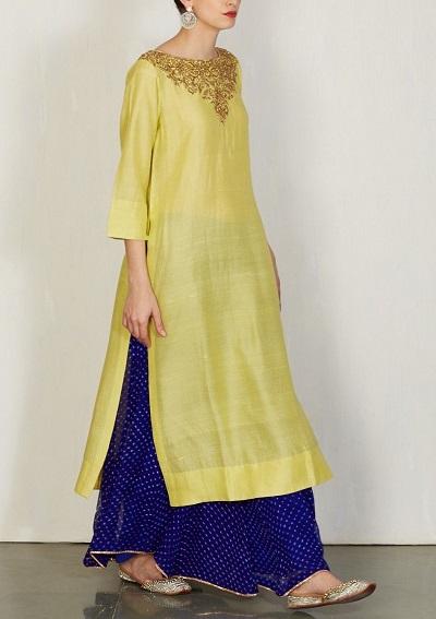 Yellow And Blue Party Wear Kurta Skirt Pattern