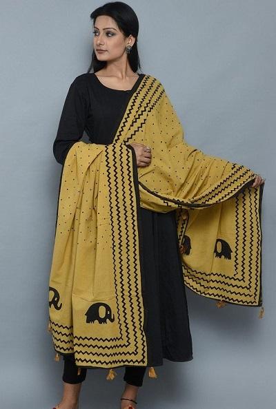 Yellow cotton elephant printed dupatta