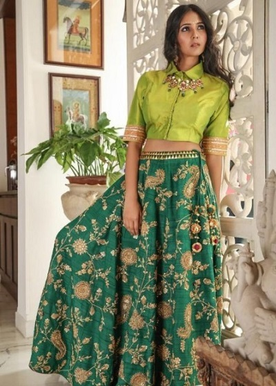 Beautiful Silk green embroidered Mehandi dress for brides