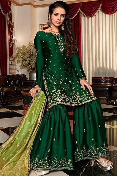Dark Green Silk Kurti Sharara For Bridal Mehendi Function