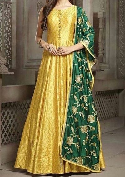 Long Yellow Gown With Green Dupatta For Mehndi Dress