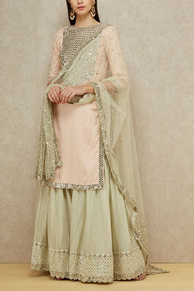 Mirror And Sequins Work Kurta With Mint Green Skirt