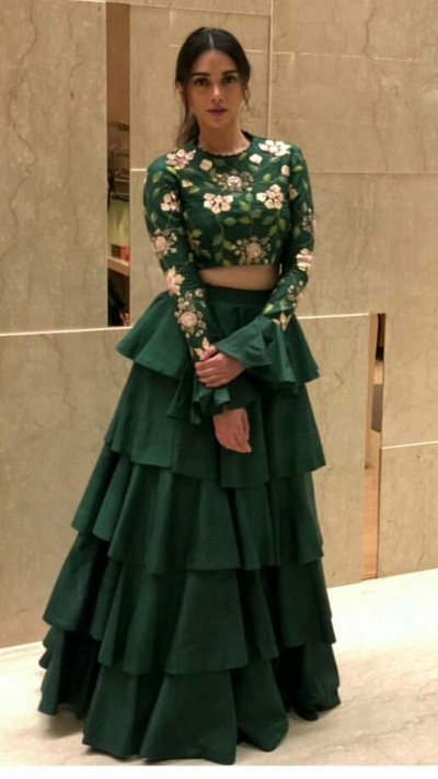 Multi Tiered Lehenga With Embroidered Blouse For Mehendi Function