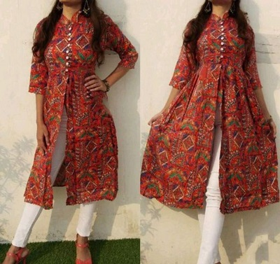 Printed Short Front Opening Kurti With Buttons