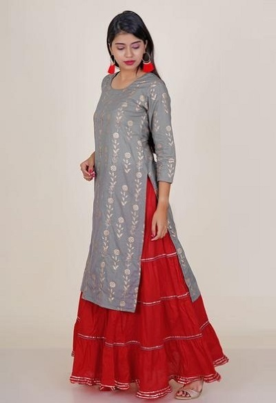 Stylish Grey Floral Printed Kurta With Multi-Tiered Red Skirt