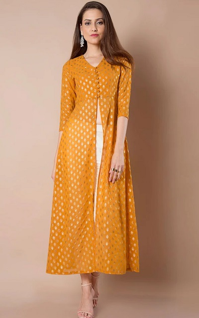 Yellow And Gold Front Opening Party Wear Kurti Pattern