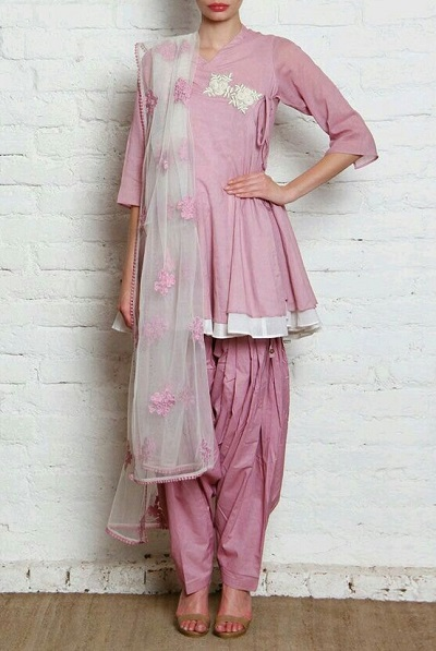 Angrakha Style Frock Salwar Suit Design With Net Dupatta