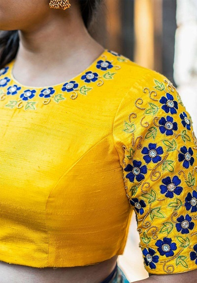 Art Silk embroidered blouse pattern