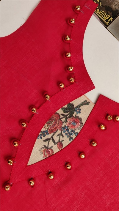 Beaded kurti neck design with patch work