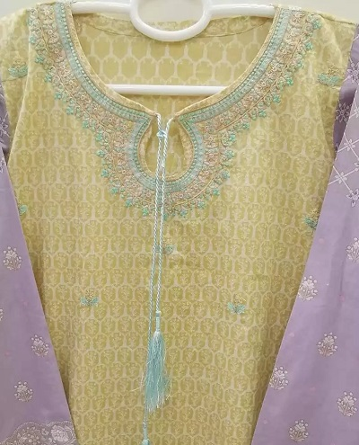 Beautiful kurti neck design with embroidery and strings