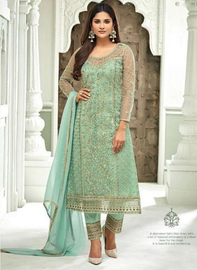 Beautiful mint green net suit with trouser and dupatta