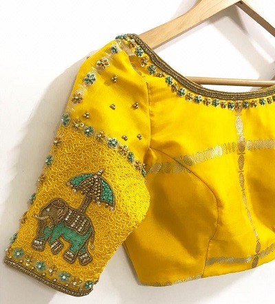 Beautiful yellow blouse with Silk thread embroidery